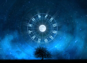 Zodiac Signs Horoscope with the tree of life and universe